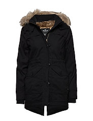 Fur Lined Parka - BLACK DD