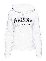 Full Zip Fleece Hoodie - WHITE