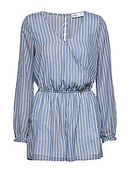 Long Sleve Romper - NAVY STRIPE