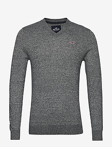 Crew Sweater - truien met v-hals - dark grey sd/texture