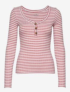 Sweater Knit Henley - trøjer - dark pink stripe