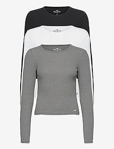 HCo. GIRLS KNITS - long-sleeved tops - white.grey.black