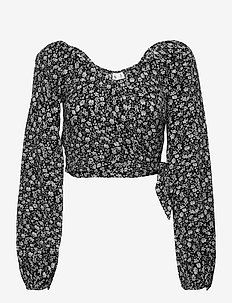 HCo. GIRLS WOVENS - crop tops - black floral