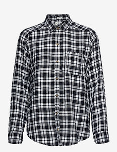 FLANNEL - langermede skjorter - navy plaid