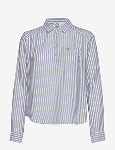 Longsleeve Popover Top - MED BLUE STRIPE