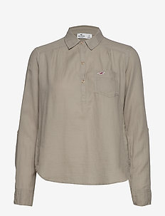 Longsleeve Popover Top - OLIVE DD