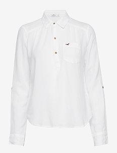 Longsleeve Popover Top - WHITE