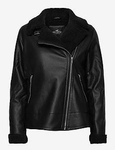 LEATHER BIKER - skinnjakker - black