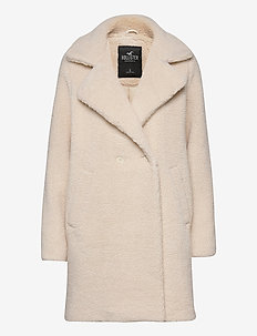 LONG NUBBY COAT - fuskepels - cream