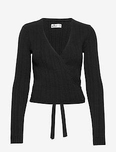 Tie Back Wrap Sweater - koftor - black dd