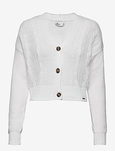 CROP CABLE CARDI - cardigans - white