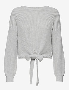 Multi Way Tie Front Sweater - LIGHT GREY SD/TEXTURE