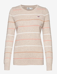 Icon Jersey Crew Pullover - LIGHT BROWN STRIPE