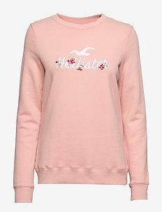 Overt Floral Logo Crew - sweats - med pink dd
