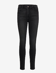 High Rise Super Skinny - WASHED BLACK