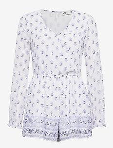 Long Sleve Romper - jumpsuits - white print