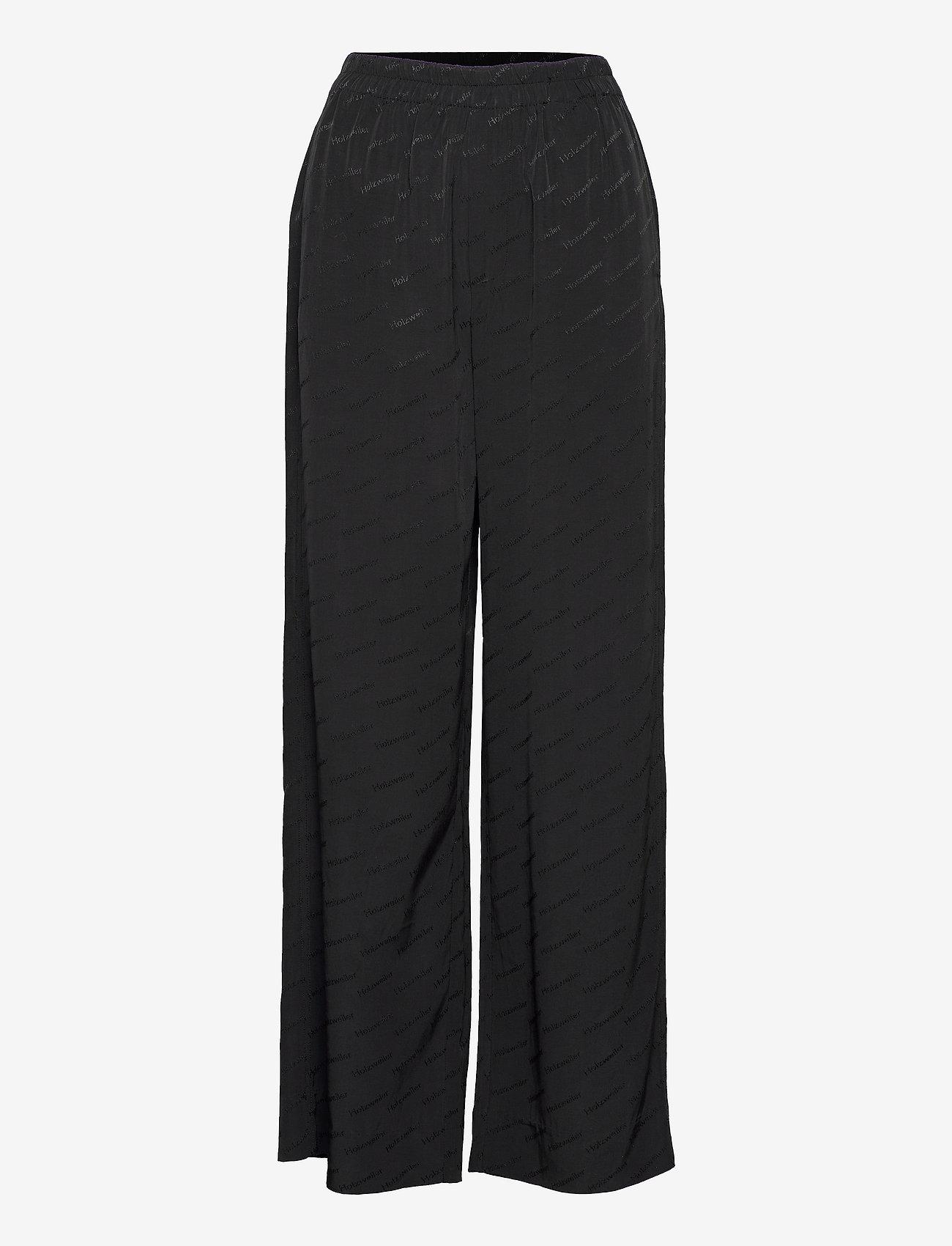 HOLZWEILER - Luka Trouser - bukser med brede ben - black text - 1