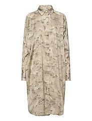 Fram Print Dress - TREE FOSSIL BROWN