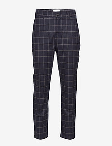 Fig Trousers - kostymbyxor - navy check