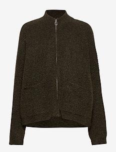 Penguin Knit Cardigan - swetry rozpinane - olive melange