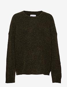 Nora Knit Sweater - swetry - olive melange