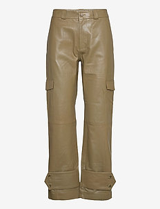 Dunder Leather Trouser 20-04 - skinnbukser - moss green