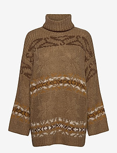 Dypvag Knit Sweater 20-04 - turtlenecks - beige mix