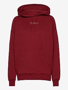 Placebo Print Hoodie - sweatshirts & hættetrøjer - burgundy flower print