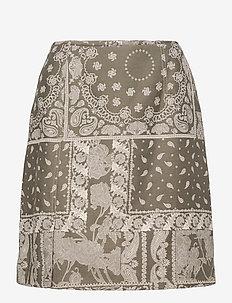 Belle Brocade Skirt - korta kjolar - dk. green mix