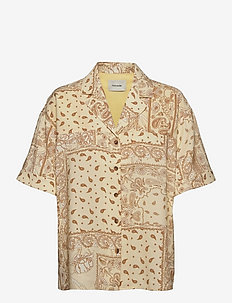 Edgar Print Shirt - lyhythihaiset paidat - lt. yellow mix