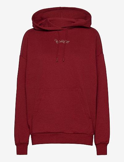 Placebo Print Hoodie - sweatshirts et sweats à capuche - burgundy flower print