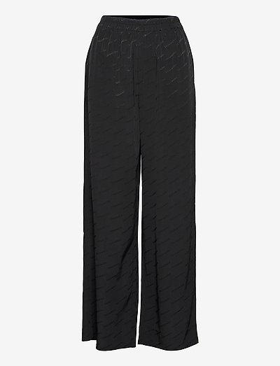 Luka Trouser - bukser med brede ben - black text