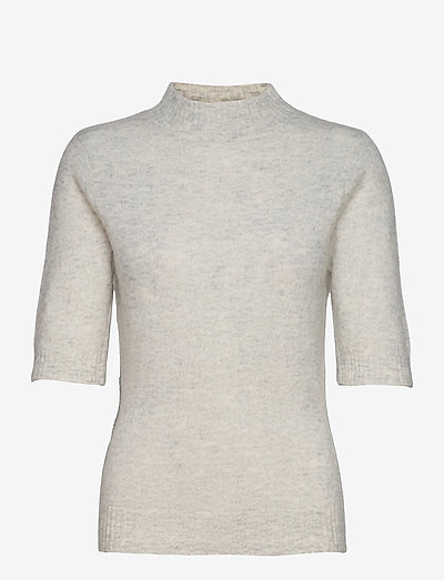 Puff Knit Tee - knitted tops - lt. grey