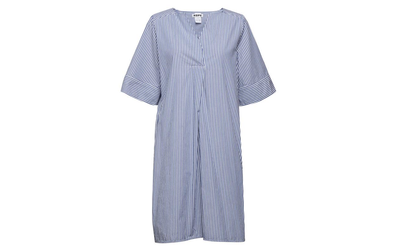 Stripe Dress Hope 100 Mono Coton Blue 8FPwAqH