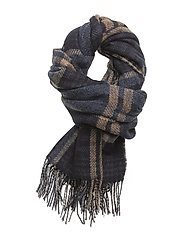 Block Scarf - DK BLUE CHECK