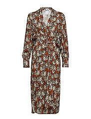 Split Puff Dress - RUST FLOWER PRINT