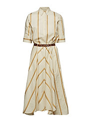 Clock Dress - BEIGE STRIPE
