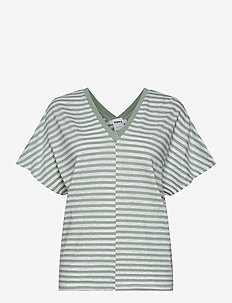 Drop Top - striped t-shirts - sage green stripe