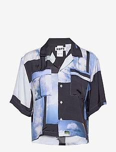 Short Shirt - koszule z krótkim rękawem - heaven blue print