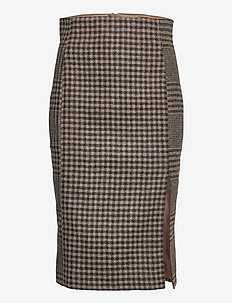 Pipe Skirt - spódnice do kolan i midi - beige duo check