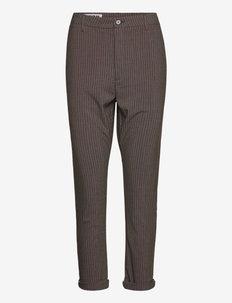 News Edit Trousers - suorat housut - khaki brown stripe