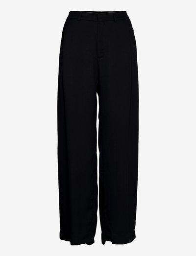 Slow Trousers - rette bukser - black fluid