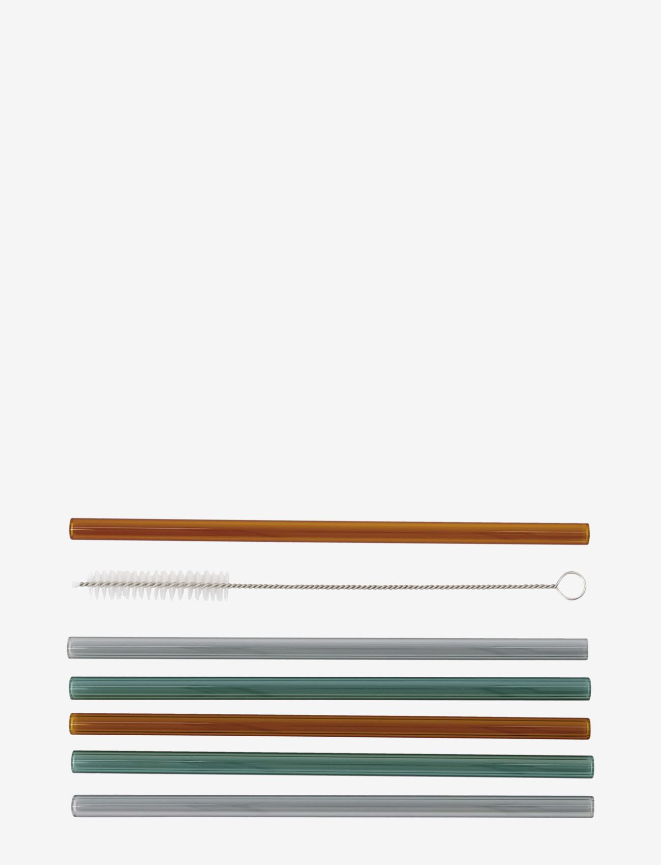 house doctor - Vaca Glass straws incl. Cleaner - drink & barutstyr - green, grey, orange - 1