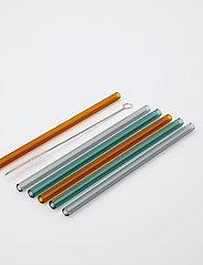 house doctor - Vaca Glass straws incl. Cleaner - drink & barutstyr - green, grey, orange - 0