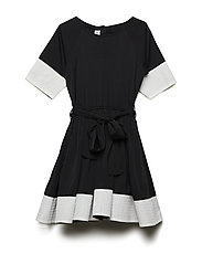 SIONA DRESS - BLACK WITH OFFWHT STRIPE