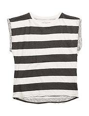 Cut T Stripe - White/black