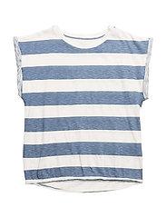 Cut T Stripe - White/blue