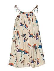 CONI dress - OFF WHITE BLUE FLAMINGO