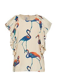 BLING top - OFF WHT FLAMINGO