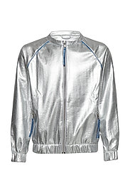 WINNER jacket - SILVER FAUX LEATHER BLUE PIPE